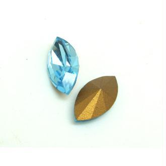 Lot 2 Navettes Cristal Swarovski  Facetté Vintage Bleu Aquamarine - 15*7 mm