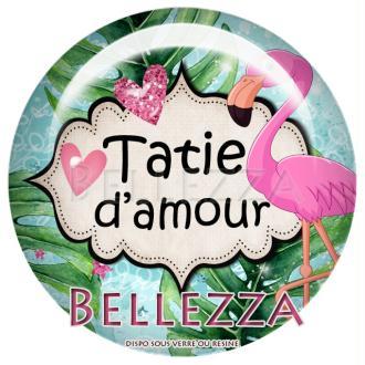 Cabochon en résine 25mm, Flamant rose, tropical, exotique, tatie