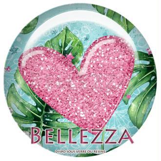 Cabochon en résine 25mm, Flamant rose, tropical, exotique, cœur, glitters