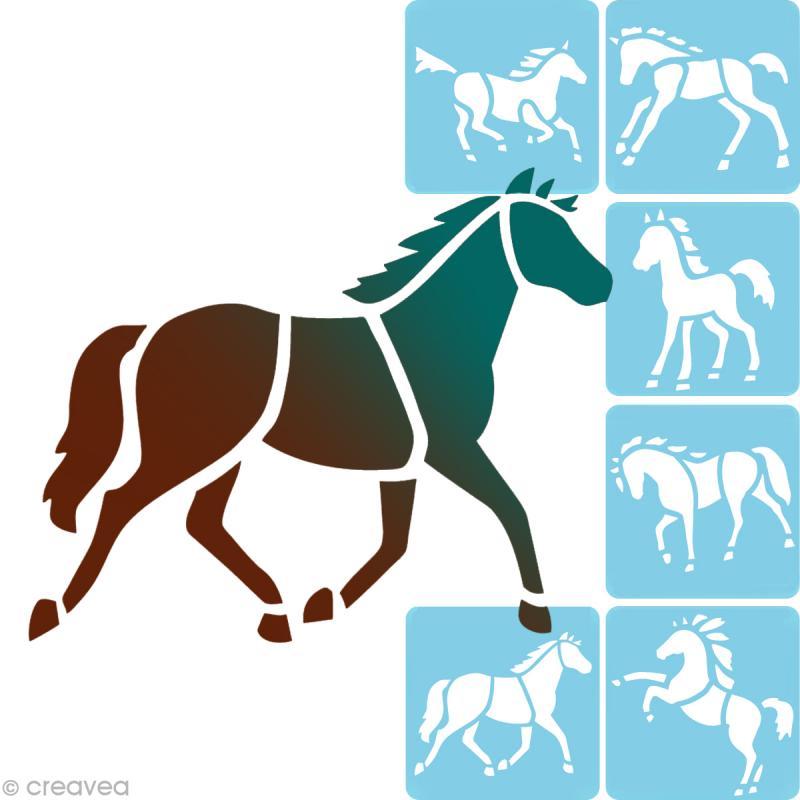 pochoir enfant chevaux set de 6 pochoir enfant creavea. Black Bedroom Furniture Sets. Home Design Ideas