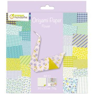 Origami 20 x 20 cm - Flowers x 60 papiers