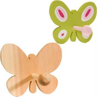 Patère en bois papillon