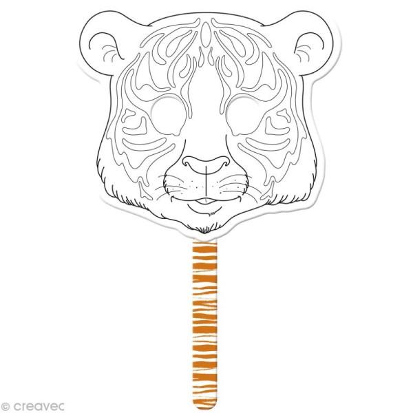 Masque à colorier Tigre graffy stick - 31,5 x 21,5 cm - Photo n°1