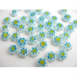30 Perles verre millefiori bleu ciel blanc jaune 8x4mm
