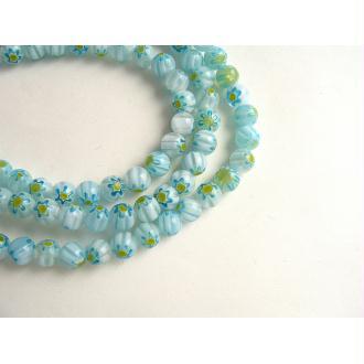 30 Perles verre millefiori bleu ciel blanc jaune 6mm