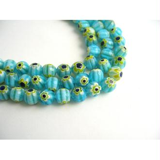 30 Perles verre millefiori bleu ciel et foncé, blanc 8mm