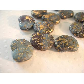 4 Perles de verre coquillage gris or 17x13mm