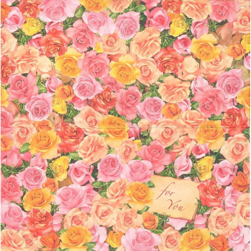 4 serviettes en papier fleurs roses amour format lunch for Amour de cuisine basboussa
