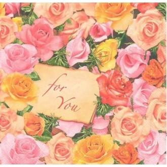 4 Serviettes en papier Fleurs Roses Amour Format Lunch