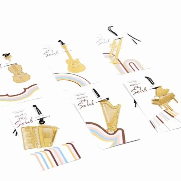 Marque pages en métal doré saxophone - Photo n°2