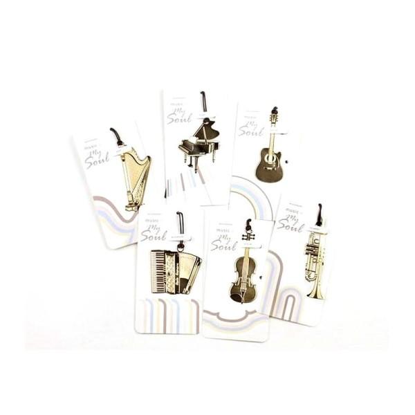 Marque pages en métal doré saxophone - Photo n°3