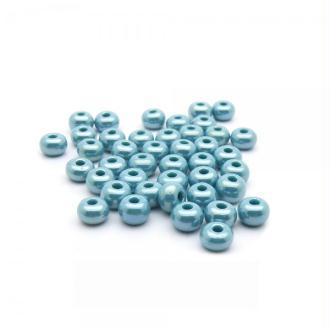 Perles de rocailles lustré 4/0 - 5mm bleu turquoise 15g - Europe