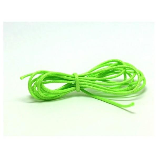 1 M Cordon  Vert Vif Fluo En Polyester Ciré 1 Mm - Photo n°1