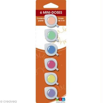 Assortiment peinture acrylique Pastels - 6 mini doses de 3ml