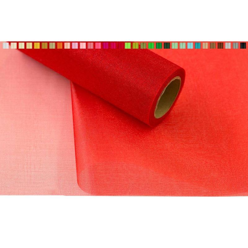 Tissus organza 16 cm de large 9 metres de long colori - Service de table rouge ...