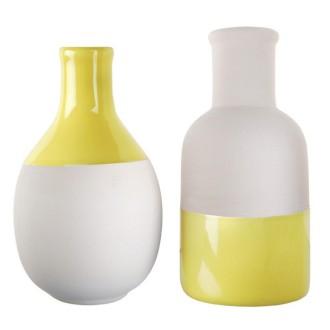 2 Vases scandinaves jaune et blanc assortis