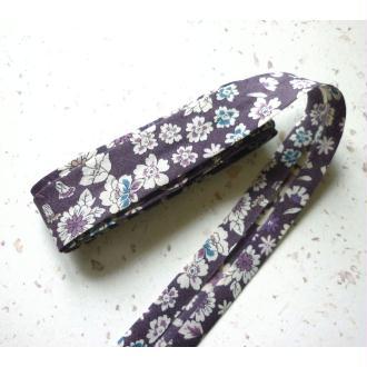 Biais 20 mm fleuri liberty violet tendre FrouFrou- voile coton fin - AU mètre