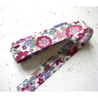 Biais 20 mm grande fleur rose fuchsia FrouFrou - voile coton fin - AU mètre