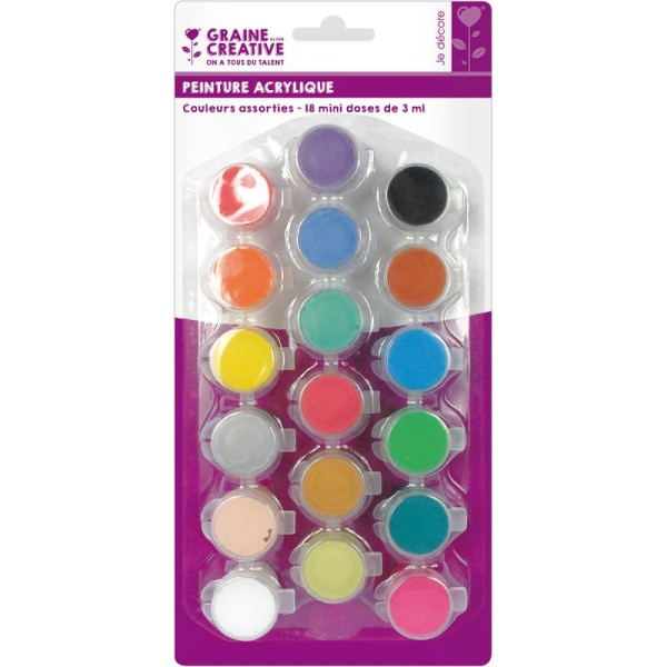 Assortiment peinture acrylique Vives et Pastels - 18 mini doses de 3ml - Photo n°1