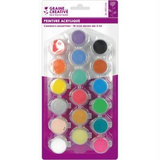 Assortiment peinture acrylique Vives et Pastels - 18 mini doses de 3ml