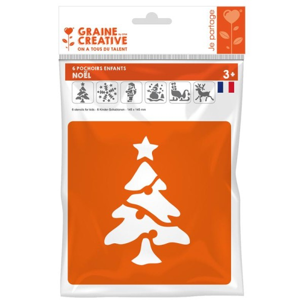 Pochoirs en plastique - Noël - 6 pochoirs 14 cm - Photo n°1