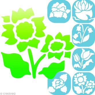 Pochoirs en plastique - Fleurs - 6 pochoirs 14 cm