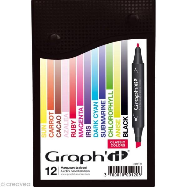 Assortiment Feutre à alcool Graph'it Classic colors x 12 - Photo n°1