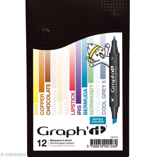 Assortiment Feutre à alcool Graph'it Manga colors x 12 - Photo n°1