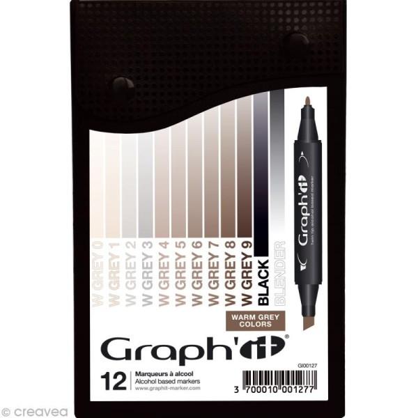 Assortiment Feutre à alcool Graph'it Warm grey colors x 12 - Photo n°1