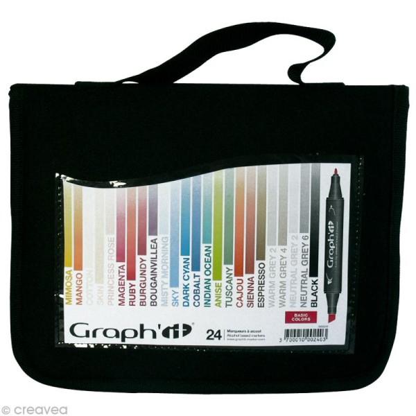 Assortiment Feutre à alcool Graph'it Basic colors x 24 - Photo n°1