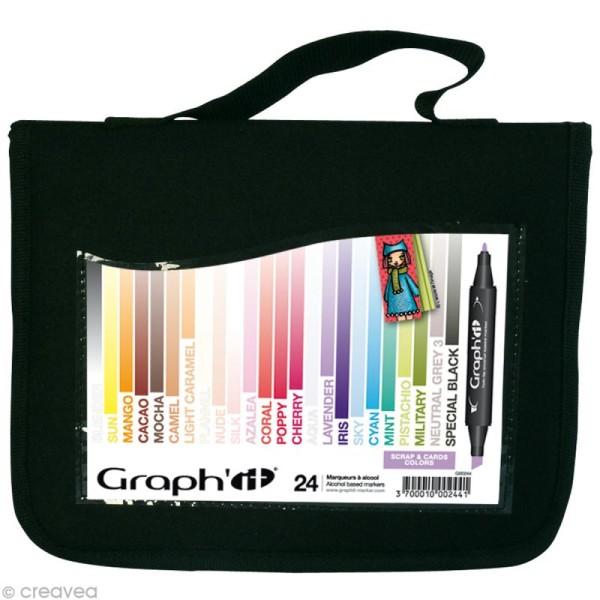 Assortiment Feutre à alcool Graph'it Scrap & cards colors x 24 - Photo n°1