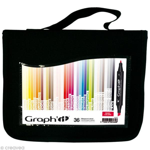 Assortiment Feutre à alcool Graph'it Basic colors x 36 - Photo n°1