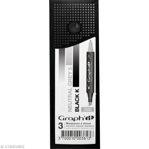 Assortiment Feutre à alcool Graph'it Dégradé black & white x 3 - Photo n°1