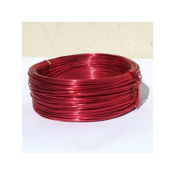 Fil aluminium rouge. diamètre 2 mm - vendu au mètre - Photo n°1