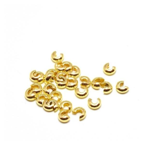 Lot De 10 Perles À Écraser Laiton Cache Noeud Dorées  Or  4 Mm Trou 1,5 Mm - Fin De Cordon - Photo n°1