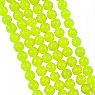 10x Perles Rondes 4mm Jade Teintée JAUNE FLUO