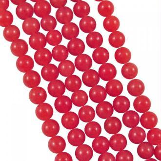 10x Perles Rondes 4mm Jade Teintée ROUGE GRENADINE