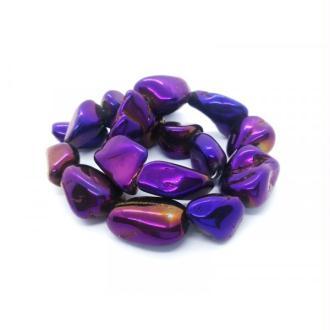 3x Perles Nuggets Quartz Galvanisé 13x24mm env. pierre naturelle VIOLET
