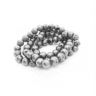 10x Perles rondes Quartz drusy  Galvanisé 6mm env. pierre naturelle ARGENT