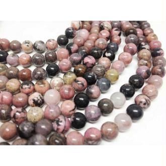 10x Perles Rondes 10mm Rhodonite