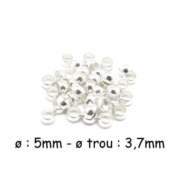 40 Perles À Écraser Métal Argenté Brillant Blanc 5mm - Photo n°1