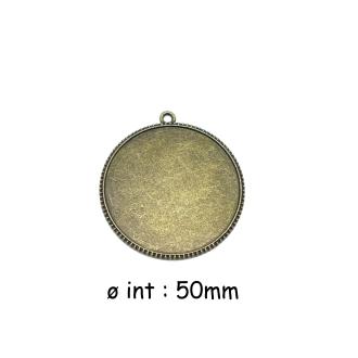 2 Grands Pendentifs Support Cabochon Rond 50mm En Métal De Couleur Bronze Médaillon