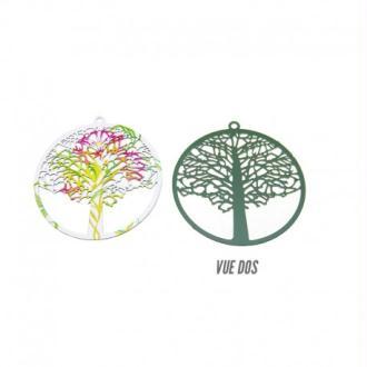 Pendentif filigrane rond avec arbre peinture émail multicolore 43mm par 2 pièces