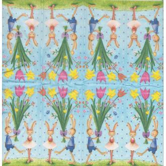 4 Mouchoirs en papier Pâques Oeuf Fleurs