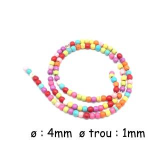 100 Perles Ronde 4mm En Pierre Reconstitué