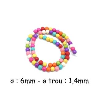60 Perles Ronde 6mm En Pierre Reconstitué