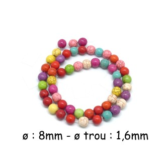 48 Perles Ronde 8mm En Pierre Reconstitué