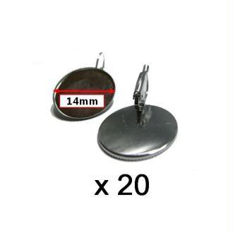 20 Supports Boucles D'oreilles Dormeuses Argent Cabochon 14mm -2