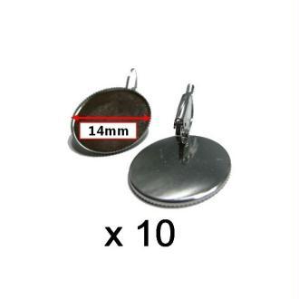 10  Supports Boucles D'oreilles Dormeuses Argent Cabochon 14mm