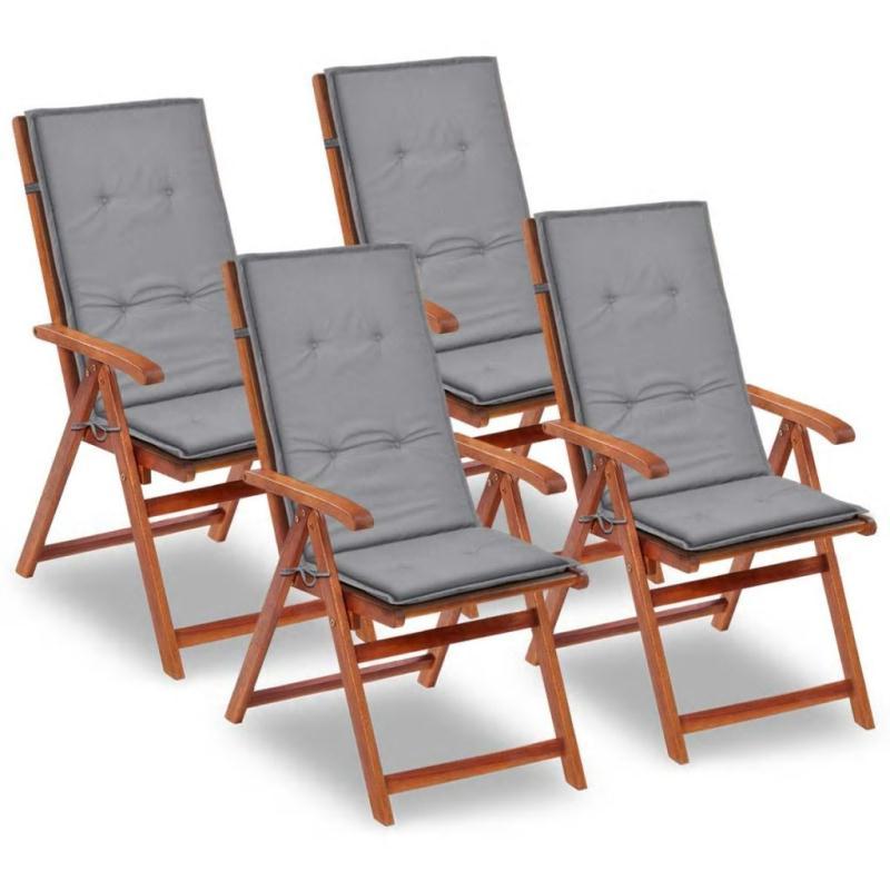 Vidaxl coussin de chaise de jardin 4 pcs gris 120 x 50 x 3 for Coussin pour canape